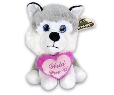 Husky zittend met hart  'Wild For U'