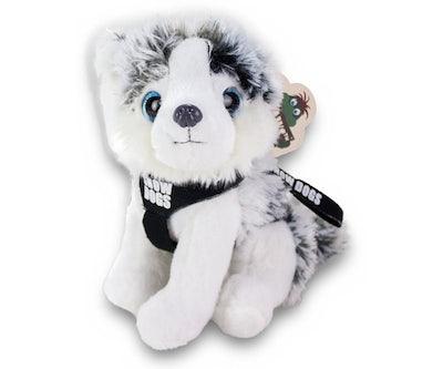 Husky zittend met tuigje en kort riempje 'Snowdogs' 20 cm
