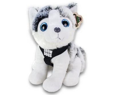 Husky zittend met tuigje en kort riempje 'Snowdogs' 30 cm