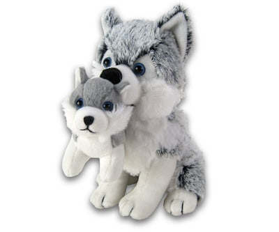 Husky zittend met pup 32 cm