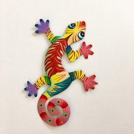 Vrolijk gekleurde gekko van metaalplaat - M.014 -