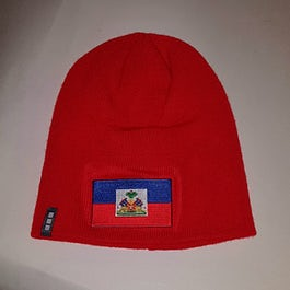 Rode muts (zonder omslag) - Beanie met vlag Haiti