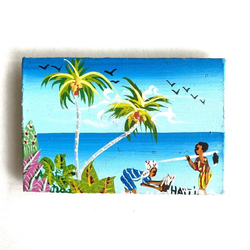 NIEUW: Minischilderijtje (Magneet) 'Haiti tafereel'