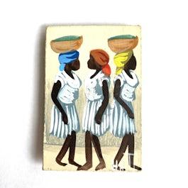 NIEUW: minischilderijtje 'Haitiaanse dames' - KM.022 -