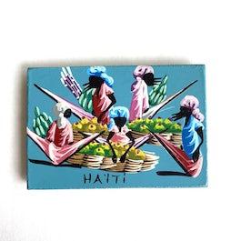 Minischilderijtje (Magneet) 'Tafereel Haïti vrouwen' - KM.006 -