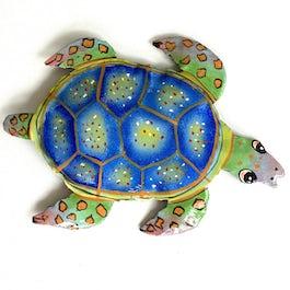 NIEUW: Vrolijk gekleurde schildpad van metaalplaat - M.028 - UITVERKOCHT