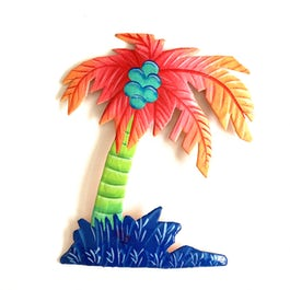 Vrolijk gekleurde palmboom van metaalplaat - M.040