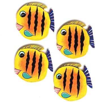 Vissen decoset of onderzetters geel - set van 4 stuks - OZ.002