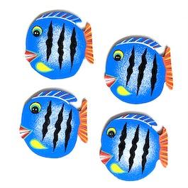 Vissen decoset of onderzetters blauw - set van 4 stuks - OZ.210