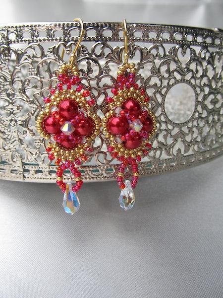 Hindia rood en goudkleurig, oorbellen