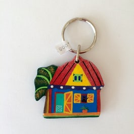 UITVERKOCHT - Sleutelhanger 'Bananatree house' - dak rood - SL.008 -