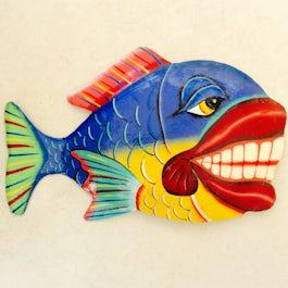Vrolijk gekleurde vis 'funny' van metaalplaat - M.043 -