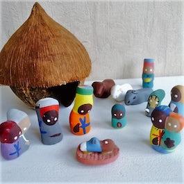- UITVERKOCHT - Kerststalletje kokosnoothuisje en kleipoppetjes - KR.006 -