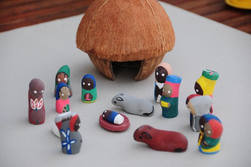 Haitiaanse kerststal kokosnoot