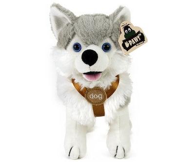 Husky knuffel staand met tuigje 21 cm