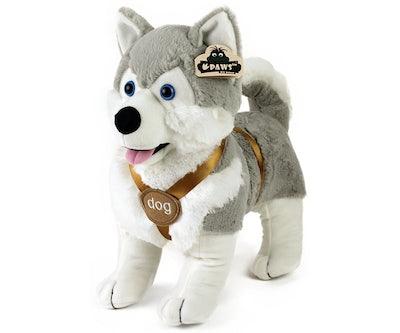 Husky knuffel staand met tuigje 40 cm