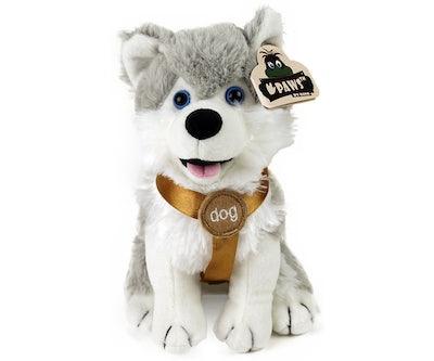 Husky knuffel zittend met tuigje 20 cm