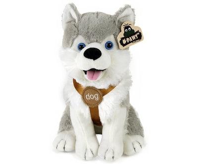 Husky knuffel zittend met tuigje 25 cm