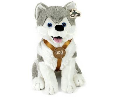Husky knuffel zittend met tuigje 32 cm