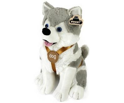 Husky knuffel zittend met tuigje 40 cm