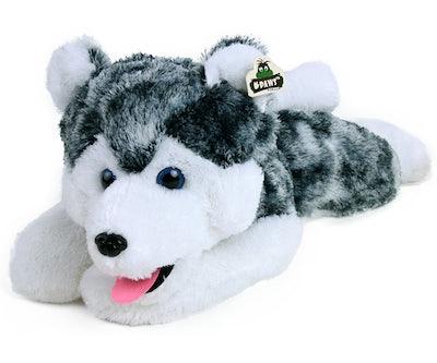 Husky knuffel liggend 72 cm