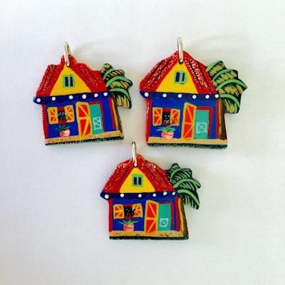 Kersthangers van 3 Haïtiaanse huisjes - KR.008 -