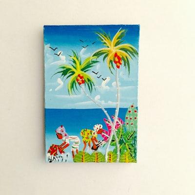 Minischilderijtje (Magneet) 'Haiti tafereel water' '- KM.021 -