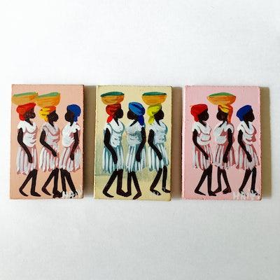 -UITVERKOCHT- Setje minischilderijtjes 'Haitiaanse dames' - KM.022 -