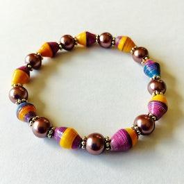 Armband van smalle paperbeads - paars/geel - A.301-